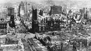 La ciudad de Los Ángeles derruida a causa de un devastador terremoto  a comienzos del siglo XX. Foto: © Ecoportal.net