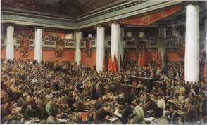 Cerimonia di apertura del II Congresso della Terza Internazionale di Isaak Brodskij, 1924. Dipinto realista