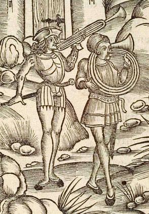 Fanfaren- und Hornbläser im Jahr 1502