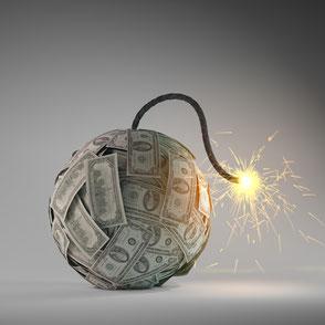 eine Geldkugel kurz vor der Explosion