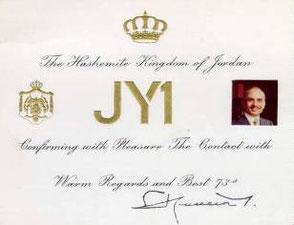 La Qsl di JY1 Re di Giordania ora in S.K.