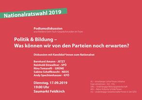 ÖVP und FPÖ kann, will oder traut sich nicht mit Lehrer*innen und Schüler*innen zu diskutieren. Bild Flyer: Georg Vit