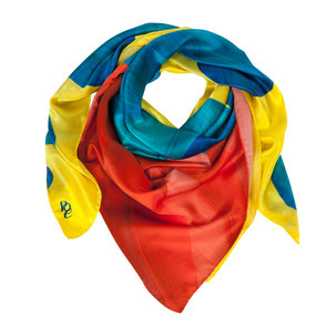Seidentuch Paradise Bird. Bunt, knallig und äußerst verrückt. Seien auch Sie ein Pardievogel. Gelb, rot, blau, Geschenk, Exklusiv, Geschenkidee. Seidentücher, Accessoires und Fashion von Pattern of Earth Berlin.