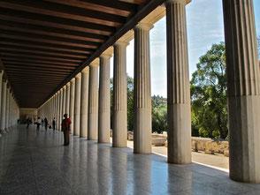 Säulen-Promenade - die Decke wie früher mit Holz verkleidet