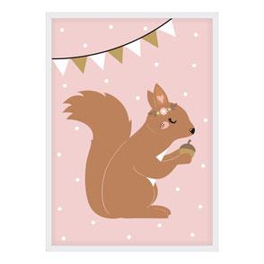 Poster Eichhörnchen | rosa | Mädchen