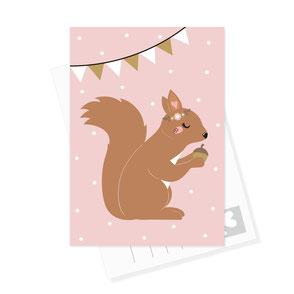 Eichhörnchen Postkarte rosa