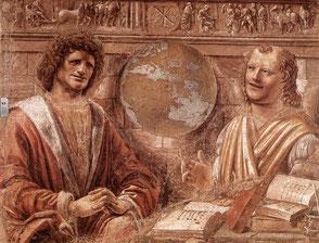 Der weinende Heraklit (links) und der lachende Demokrit (rechts); D.Bramante; 15. Jh.; Bildquelle: Wikipedia