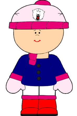 Mädchen mit Eisbären-Mütze