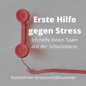 Stress, Stress-Notfallnummer, Erste Hilfe gegen Stress, viel Arbeit, Herausforderungen, Mitarbeiter, Hilfe, Unterstützung, Coaching, Beratung, kostenfrei, kostenlos, Leipzig
