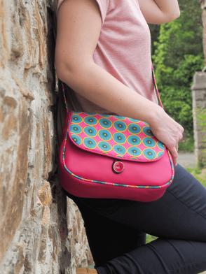 sac à main femme bandoulière réversible simili cuir et tissu imprimé fabriqué en France créateur