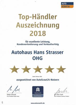Top-Händler 2018 Auszeichung von AutoScout24 für Autohaus Strasser in Rosenheim