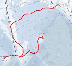 Route von der Bergstation Wurzeralmbahn auf das Wurzerkampl und den Gscheidriedel