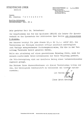 Vertrag Deutsche Oper Berlin von 1960