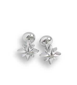 Silber Manschettenknöpfe Stern Brillanten