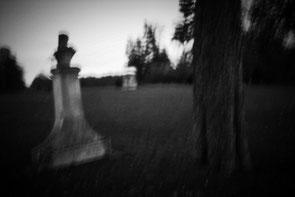 Une stèle à la tombée de la nuit sur le site de Grignon dans les Yvelines