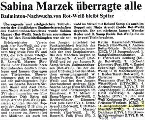WZ vom 19.03.1988 Wuppertaler Stadtmeisterschaften Jugend Doppel