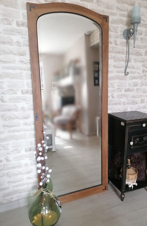 relooking de meuble le mans sarthe grand miroir industriel noyer noir et bois le perche