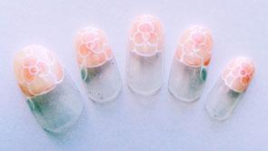 お花ネイル(丸フレンチ・バラ)