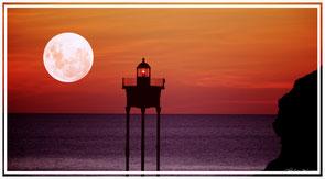 Pleine lune, coucher de soleil, océan, collioure, phare