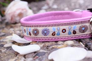 Hundehalsband mit Leder-Unterfütterung, Borte Frl Smilla sand 103, GB alt-rosa 20, MF flieder 016