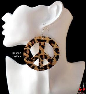 Boucles d'oreilles anneaux en bois pendants tachetées