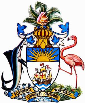 Armoiries des Bahamas. L'île de San Salvador (Bahamas) est la première île découverte par Christophe Colomb dans son périple à la découverte du Nouveau Monde.  On y voit d'ailleurs, au centre des armoiries, le navire Santa Maria du célèbre navigateur.