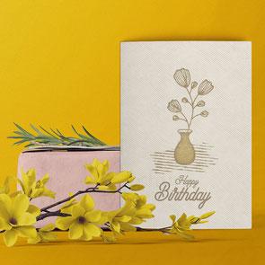 Geburtstagskarte Happy Birthday Blume