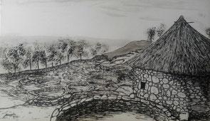 Dibujo, celta, castrexo, paisaje. Citania, Monte Santa Trega, Océano Atlántico, A Guarda, Pontevedra, Galicia