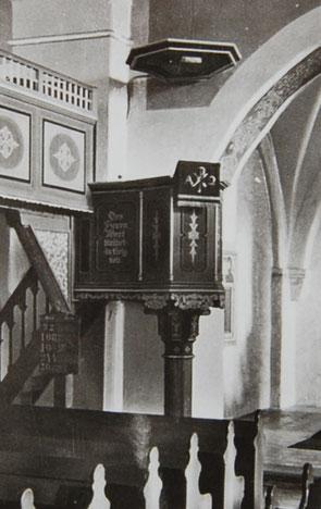 Die Kanzel ab 1927 (Aufnahme vor 1939):