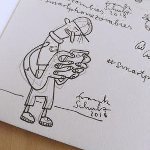 Blick in mein Skizzenbuch – Illustration Zombie und Handysucht, Zeichnung mit Tusche und digitaler Farbe von Frank Schulz Art, zeigt einen Jungen mit Mütze als Digitalzombie der sein Smartphone checkt