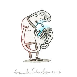 Zeichnung eines jungen Mannes der gebannt auf sein Smartphone starrt