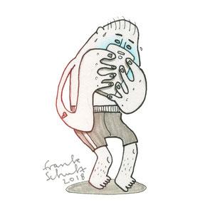 Illustration eines Mannes in Shorts der schwitzend auf sein Smartphone starrt