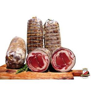 """Pancetta arrotolata """"Tocino enrollado"""" con pimienta negra (32,50€/kg)"""