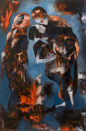 Der Kuss - Öl und Acryl auf Leinwand, 120 x 80cm, 2017
