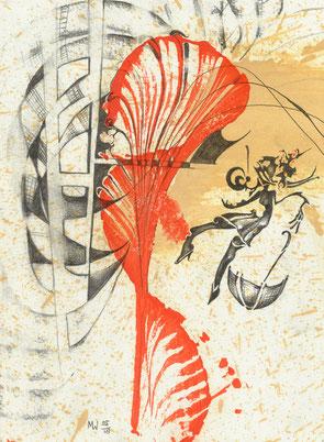 Klabauterfrau - Öl und Bleistift auf Papier, A4, 2018