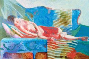 横たわる女 キャンバスに油彩