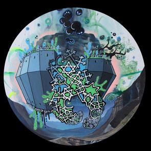 Massada, 2013, Acryl, Lack auf runde Leinwand (Durchmesser 50 cm)