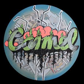 Carmel, 2013, Acryl, Lack auf runde Leinwand (Durchmesser 50 cm)