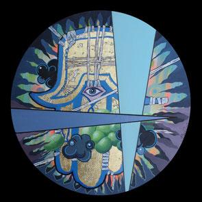 Khamsa, 2013, Acryl, Lack auf runde Leinwand (Durchmesser 50 cm)
