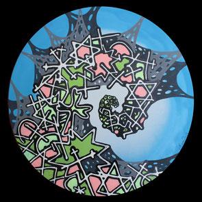 Kokon, 2013, Acryl, Lack auf runde Leinwand (Durchmesser 50 cm)