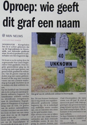 Newspaperclipping from local newspaper (2008) in which I asked for information about this grave number 18