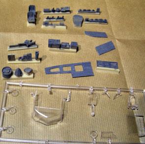 Teile aus drei verschiedenen Materialien
