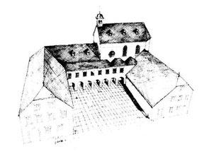 © Architekt Stefan Hofhus, Der Architekt Stefan Hofhus aus Binningen zeichnete nach historischen Bauplänen aus dem Landeshauptarchiv in Koblenz die Perspektiven des Klosters Rosenthal.