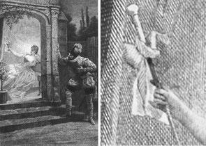 La canne des Indes. Gravure de Jules-Arsène Garnier d'après Alphonse Lamotte. La Princesse de Clèves, Paris, Conquet, 1889.