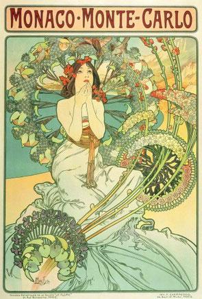 Poster for 'Monaco - Monte Carlo' railway services (1897)