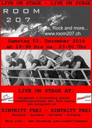 ROOM 207, Nightshopping Velopalast Fitness-Shop Zürich Zürich-Seebach,  Zürcher Bluesband, Bluesband Zürich, Blues Zürich, Kai Bachmann, Mark Schneiter, Kurt Zaugg, Franz Varga, Josef Varga, Ruedi Kasper, Blues Rock and more