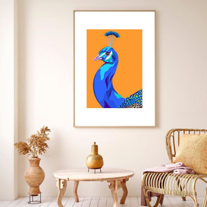 peacock illustration art print