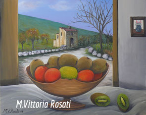 oranges and kiwi, oil on canvas, cm 40x50, 2008