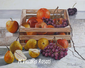 box with fruit, oil on canvas cm 40x50, 2011 private collection