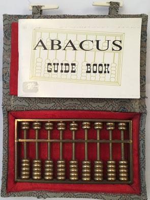 """Pequeño ábaco """"son pan"""" de metal, 9 columnas, 9x5 cm, con caja e instrucciones"""